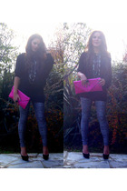 black Schutz shoes - silver Zara leggings - pink mabo accessories - silver alexi