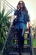 black Bershka pants - black killah boots - blue Bershka shirt - black Zara jacke