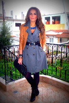 gray dress - brown jacket