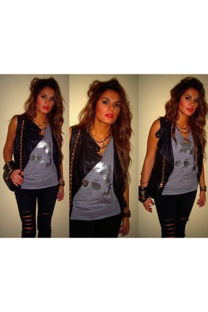 black vest - black pants - gray blouse - gold accessories