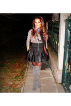 gray boots - black skirt