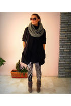 beige pink woman leggings - brown Zara boots - black Tally Weijl dress - gray H&