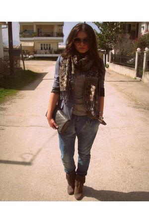blue Zara jeans - gray Stradivarius blazer - beige Bershka blouse - brown Zara b
