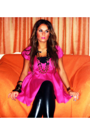 pink ysatis dress - black Bershka leggings - gold Tally Weijl necklace