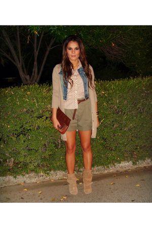 beige Zara cardigan - green Zara shorts - beige Zara shirt - blue Tally Weijl ve