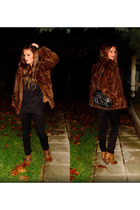 brown fur coat - brown Zara boots - black accessories - gold accessories