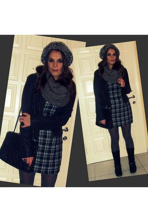 blue BSB dress - black Stadivarius jacket - black Zara boots - black Zara purse
