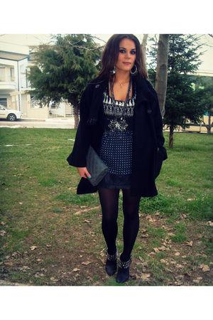 black Zara coat - blue sprider stores blouse