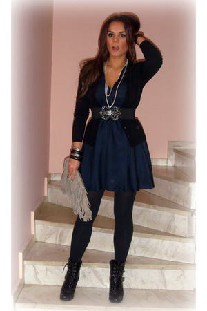 blue Zara dress - black Tally Weijl shoes - silver alexi andrioti necklace