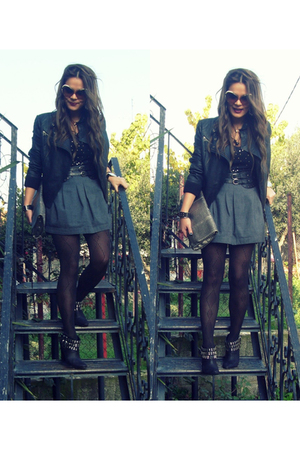 gray skirt - black jacket