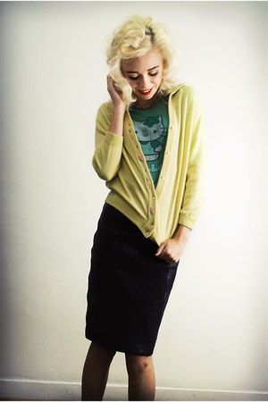 light yellow SoLovesVintage cardigan - black SoLovesVintage skirt