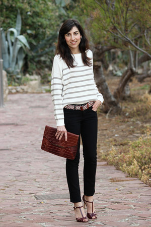 off white stripes Mango jumper - brown Parfois bag - crimson Zara heels