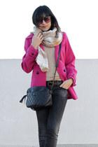 fuchsia Primark coat - plaids H&M scarf