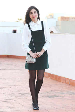dark green velvet Zara dress - metallic Sfera bag - white blouse