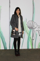 gray Zara coat - Accessorize bag - ivory Sfera jumper - crimson Zara heels