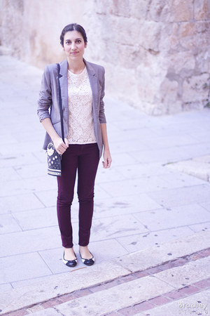 crimson Primark jeans - charcoal gray Bershka blazer - black Accessorize bag