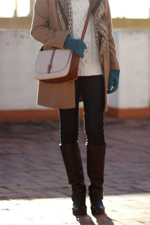 camel Pimkie coat - Sfera scarf - ivory Sfera jumper