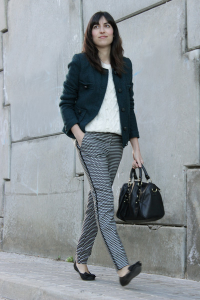 geometric Mango pants - teal tweed Cortefiel jacket