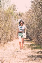 aquamarine floral crop top American Apparel t-shirt