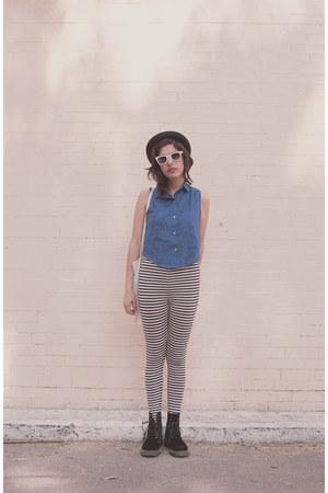 velvet Dr Martens boots - H&M hat - H&M leggings - American Apparel shirt
