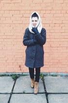 gray Extra coat - camel Timberland boots - black Zara jeans