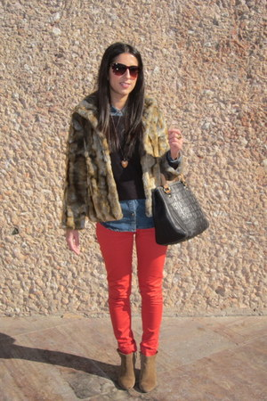red pants - camel coat