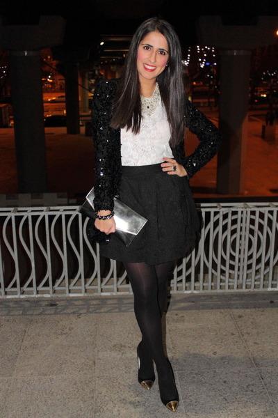 black jacket - black heels