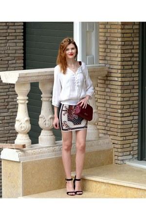 ivory Zara blouse - brick red Stradivarius bag - ivory Rosegal skirt