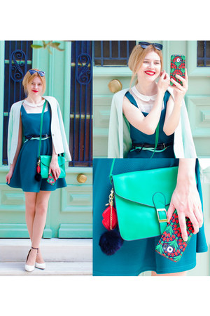teal SIMILAR dress - aquamarine SIMILAR blazer - black Migato accessories