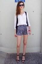 black Bershka shoes - ivory Zara shirt - blue choiescom shorts