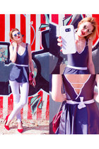 maroon SIMILAR bag - heather gray Wolfnoir sunglasses - red SIMILAR heels