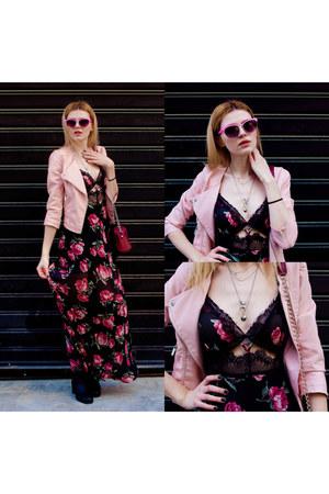black SIMILAR boots - black free people dress - light pink SIMILAR jacket
