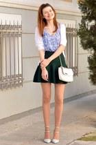 white Tally Weijl bag - white Stradivarius heels - dark green OASAP skirt