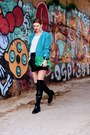 Black-pull-bear-boots-turquoise-blue-bazzr-blazer-green-dressin-bag