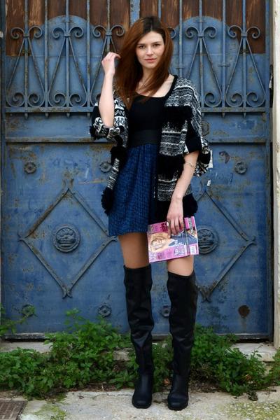 black pull&bear boots - navy Bershka dress - black limited collection cardigan