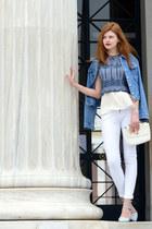 blue online jacket - light blue Stradivarius shoes - eggshell Tally Weijl bag