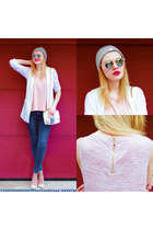 charcoal gray SIMILAR jeans - periwinkle UPFRONT hat - light pink SIMILAR bag