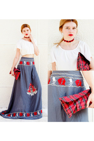 heather gray COMBAT FLIP FLOPS SARONG skirt - ruby red FOCUS ON GLAMOUR bag