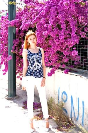 blue H&M blouse - white Tally Weijl bag - white H&M pants