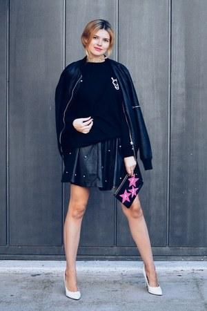 black SIMILAR jacket - black MOOD CATZ sweater - black TWO TICKETS Clutch bag