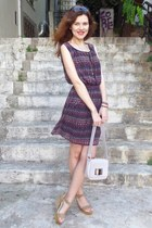 deep purple H&M dress - periwinkle H&M bag - dark brown H&M sunglasses