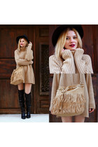 black SIMILAR boots - black DressLink hat - camel SIMILAR sweater