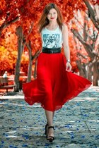 black Bershka shoes - red Oasis skirt - black Bershka belt