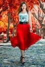Black-bershka-shoes-black-bershka-belt-red-oasis-skirt