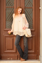 beige H&M bag - bronze Tally Weijl boots - brown Miss Denim jeans