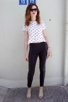beige H&M bag - beige Migato shoes - black H&M pants - ivory H&M blouse