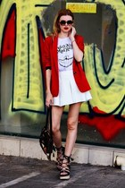 white BAZZR shorts - red SIMILAR blazer - dark brown SINGULARS bag