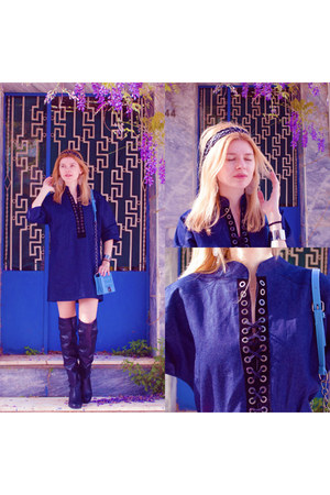 black SIMILAR boots - navy STYLISHIOUS dress - black SIMILAR scarf