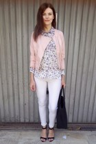 black Bershka shoes - light pink Bershka jacket - white Bershka shirt