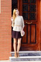 tawny SIMILAR boots - dark brown SIMILAR dress - beige SIMILAR sweater